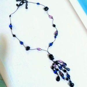Blue Purple Black Cobalt multi-dangle Y necklace